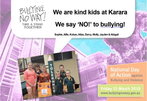 Karara's No bullying poster